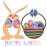 Easter Bunny Carrying Eggs with Basket Royalty Free Stock Photos