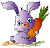 Easter bunny. Cartoon Easter bunny with a carrot cartoon image royalty free illustration