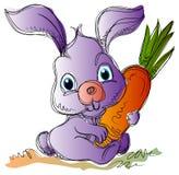 Easter bunny. Cartoon Easter bunny with a carrot cartoon image Royalty Free Stock Photos