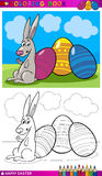 Easter bunny cartoon for coloring. Coloring Book or Page Cartoon Illustration of Easter Bunny with Painted Eggs Royalty Free Stock Images
