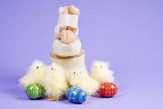 Easter Bunny Caught Stealing Eggs Stock Photography