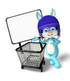 Easter Bunny character with shopping trolley Royalty Free Stock Photos