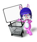 Easter Bunny character with shopping trolley Stock Images