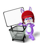 Easter Bunny character with shopping trolley Royalty Free Stock Images