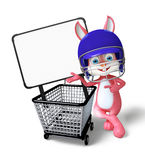 Easter Bunny character with shopping trolley Stock Photography
