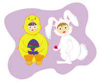 Easter bunny and chick Stock Photography