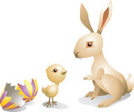 Easter bunny and chick. 3d illustration of Easter bunny and chick next to broken decorative egg, isolated on white background Royalty Free Stock Photos