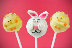Easter bunny and chick cake pops Royalty Free Stock Images