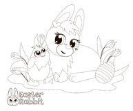 Easter Bunny and chick. Coloring book. Stock Image