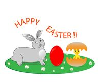 Easter bunny and chick in egg shell royalty free illustration