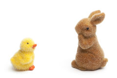 Easter Bunny and chick, Isolated on white Stock Photo