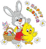 Easter Bunny and Chick Royalty Free Stock Photo
