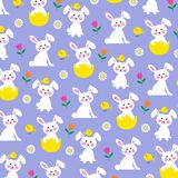 Easter bunny and chick pattern on purple background. Easter bunny and chick pattern on purple vector background pattern stock illustration