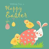 Easter bunny,chicken and easter egg Royalty Free Stock Photos