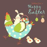 Easter bunny,chicken and easter eggs Royalty Free Stock Photos