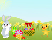 Easter bunny, chicken and eggs. Easter bunny, chicken and eggs on meadow with flowers Stock Photos