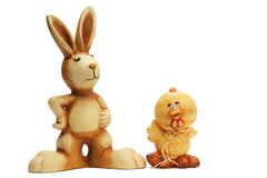 Easter bunny and chicken figurines Royalty Free Stock Photo