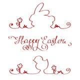 Easter bunny chicken outline stock photos