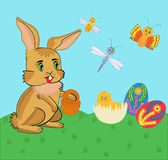 Easter bunny and chicken. Vector illustration Stock Photos
