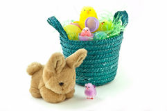 Easter bunny and chicks Royalty Free Stock Images