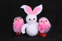 Easter bunny and chicks Royalty Free Stock Image
