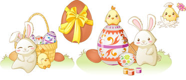 Easter bunny and chiken kawaii set Stock Photos