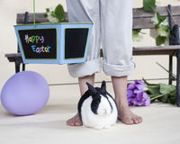 Easter Bunny in between childs feet Royalty Free Stock Photos
