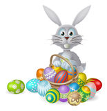 Easter bunny and chocolate egg basket Royalty Free Stock Photos