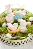 Easter bunny and chocolate eggs Stock Images