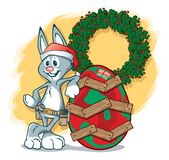 Easter Bunny on Christmas Duty royalty free illustration