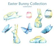 Easter bunny collection. Hand-drawn watercolor collection of Easter cute bunnies, butterflies and colored eggs isolated on the white background. Set of holiday Stock Illustration