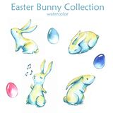 Easter bunny collection. Hand-drawn watercolor collection of Easter cute bunnies and colored eggs isolated on the white background. Set of holiday Easter Vector Illustration
