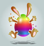 Easter bunny in the color egg Royalty Free Stock Images