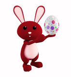 Easter bunny with color full egg. 3d Easter bunny with egg Royalty Free Stock Image