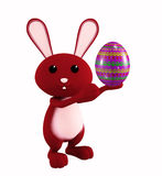 Easter bunny with color full egg. 3d Easter bunny with egg Royalty Free Stock Photography