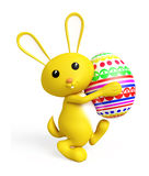 Easter bunny with color full egg. 3d Easter bunny with egg Stock Image