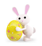 Easter bunny with color full egg. 3d Easter bunny with egg Royalty Free Stock Photos