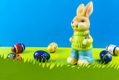 Easter bunny on blue background Stock Image