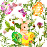 Easter bunny with colored eggs in grass, flowers. Seamless floral easter pattern with egg hunt. Watercolor Stock Image