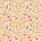 Easter bunny, colored eggs in grass and flowers. Seamless floral easter pattern with egg hunt. Watercolor Royalty Free Stock Photo