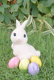 Easter bunny and colorful Easter eggs royalty free stock photo