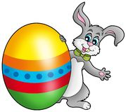 Easter bunny with colorful egg Stock Photography