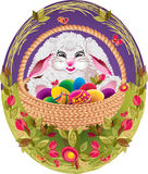 Easter. Bunny with colorful eggs in a basket, on the grass Royalty Free Stock Photography