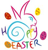 Easter bunny with colorful eggs. Colorful Happy Easter composition Stock Images