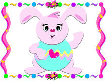 Easter Bunny with Colorful Frame Stock Image