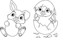 Easter Bunny coloring page. Black and white Easter Bunny coloring page Royalty Free Stock Image