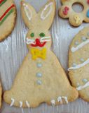 Easter bunny cookie. Bunny shaped Easter cookie and decorated Stock Photo