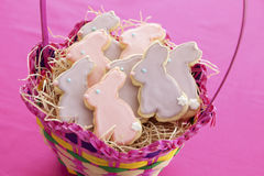 Easter bunny cookies. Easter rabbit cookies in basket Stock Photo