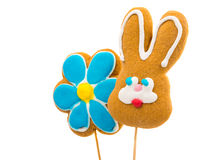 Easter Bunny Cookies And Flower Stock Photo