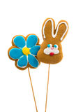 Easter bunny cookies and flower Stock Images